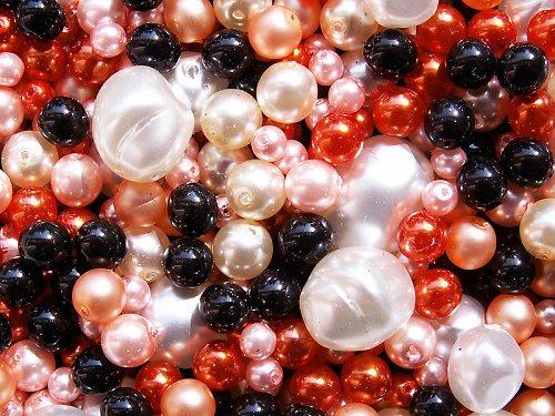 Voskové perle - černo-bílo-oranžová směs