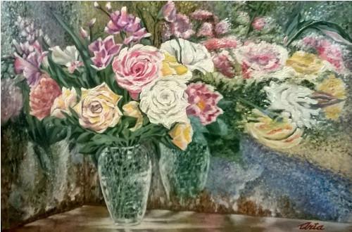 Kvetoucí odrazy, plátno na rámu, akryl, 40x60 cm
