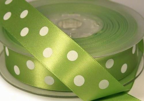 stuha satén puntík 22mm zelená - 3m