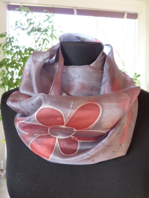nákrčník hedvábný šedo růžový