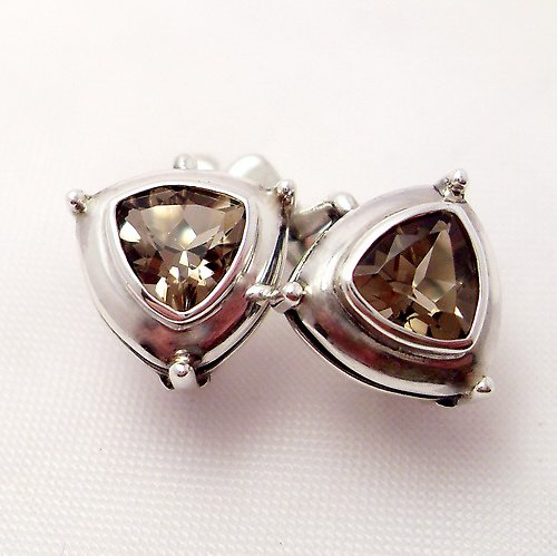 Náušnice «Jiskra» - stříbro 925, přírodní záhněda