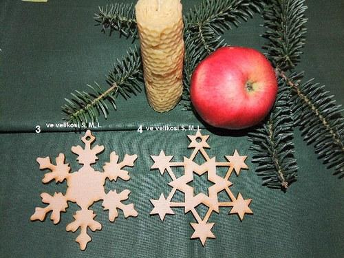 Vánoční dřevěné ozdoby VLOČKY 3 a 4/velikost M