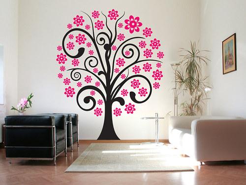 Strom s květy - samolepka na zeď