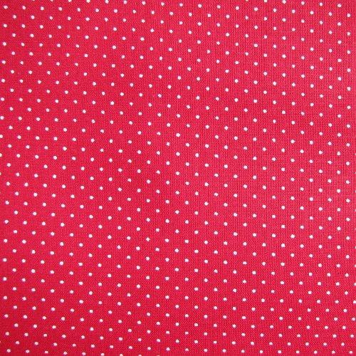 látka 100% bavlna - červená s bílým malým puntíkem