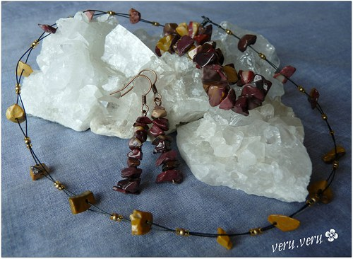 Sada šperků z jaspisu mokaitu