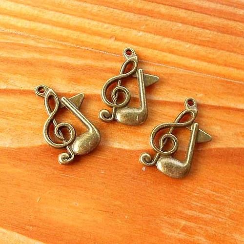 Notička + Houslový Klíč - 2ks - Bronzový