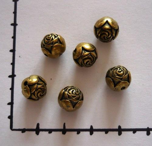 Pokovená kulička - růže, staromosaz, 6ks