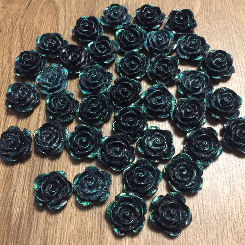 Kabošon Růže 17 mm 38 ks - černo-zelené