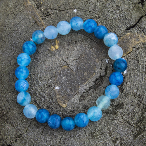 Přírodní achátový náramek modrý