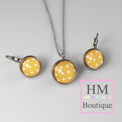 ocelový set -náušnice a náhrdelník tečkovaní žluté