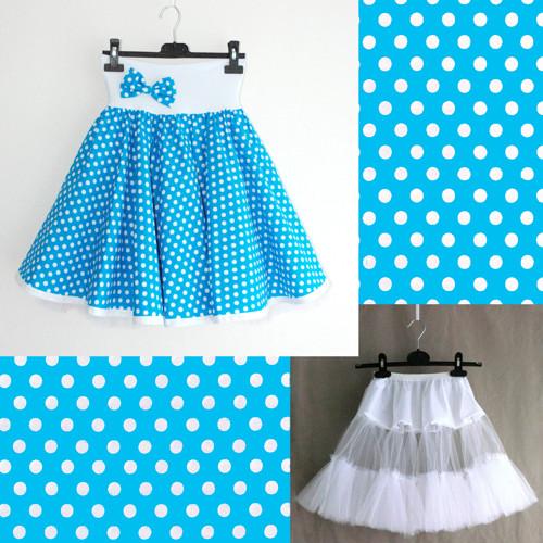 Tyrkysová puntík. sukně+jednoduchá bílá spodnička