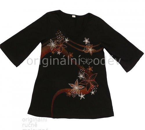 Malovaná tunika - květy - černá