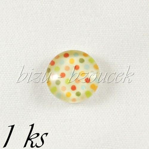 Skleněný kabošon s puntíky - 1ks