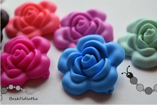 silikonové kousací kojící korálky - růže 4,5cm