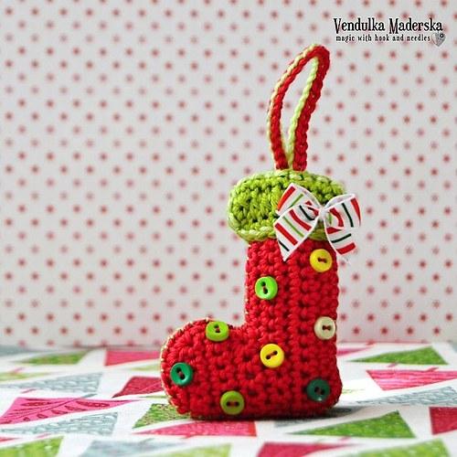 Vánoční dekorace - botička - návod na háčkování