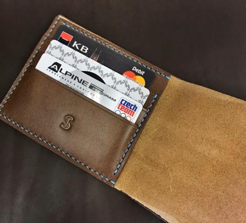 Luxusní kožená mini slim peněženka