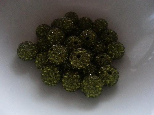 Nádherné shamballa korálky oliva