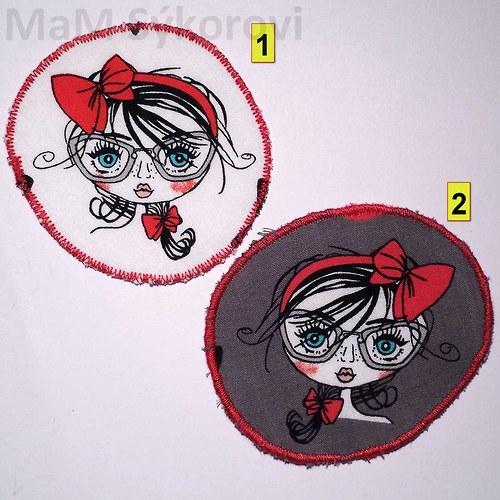 Nažehlovací záplata holčička s červenou mašlí
