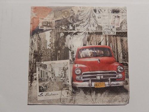 Ubrousek na decoupage - červené auto
