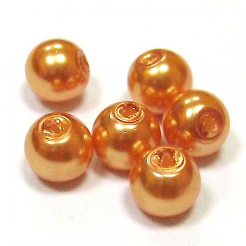 Perla vosková 6 mm - zlatavooranžová - 10 ks