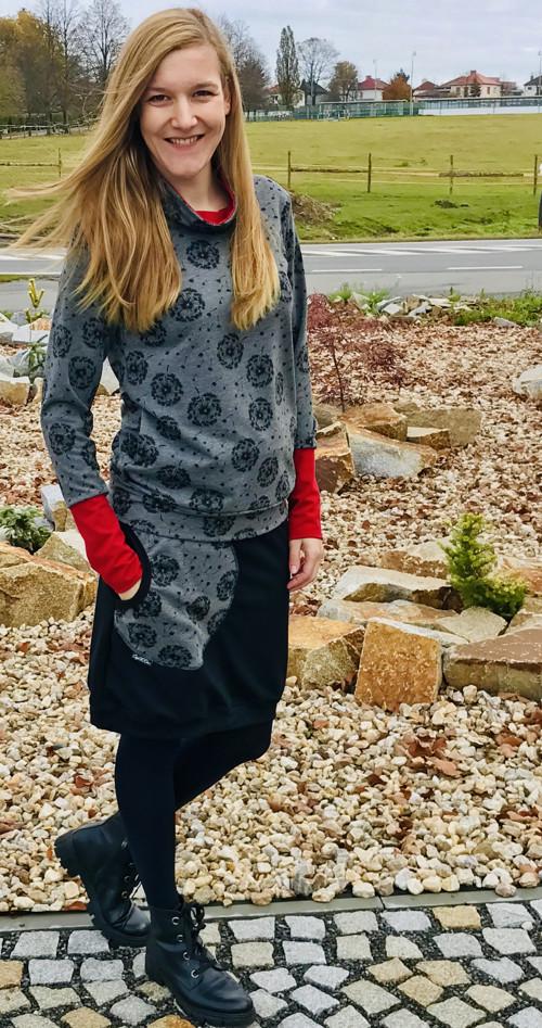Skirt Carri Black/Gray Dandelions Fluff