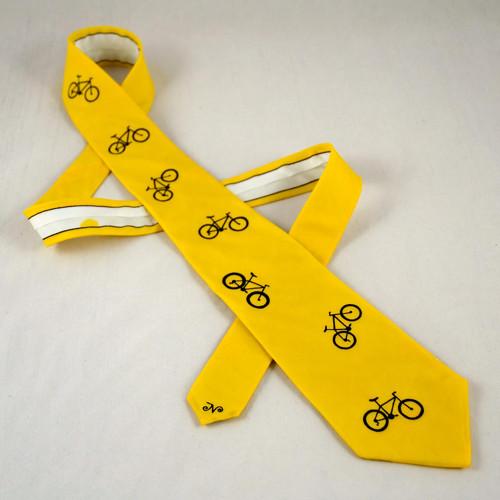 Hedvábná žlutá cyklo kravata