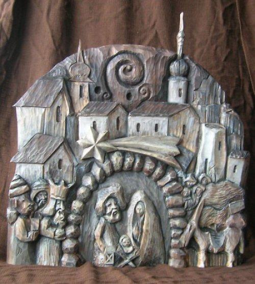 Betlém na zeď, Vyřezávaný ze dřeva