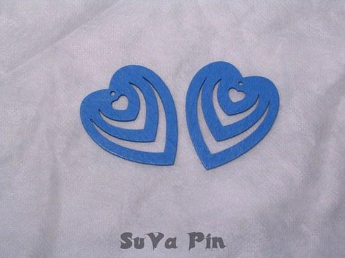 Srdce trojité modré , 3 ks