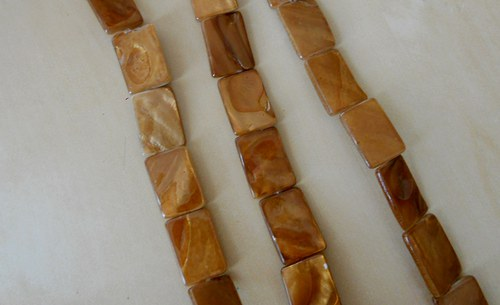 Perleťové obdélníky velké  hnědé - 4 ks
