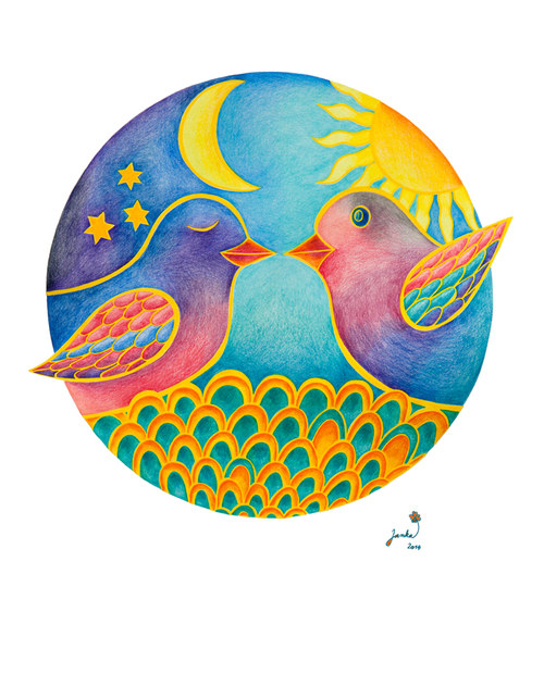 MandalaJa Den a noc Ptáčkové tisk