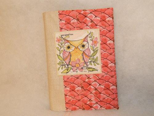 obal na knihu, plánovací kalendář - sova na růžové