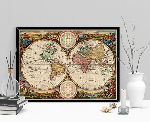 Vintage mapa světa Stoopendaal z roku 1730