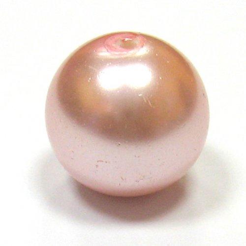 Perly voskové - 14 mm - růžová - 2 ks