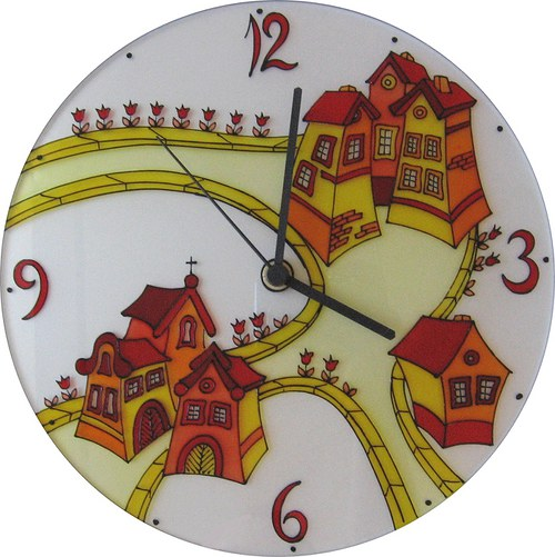 Cesta a domy - hodiny kulaté 25cm