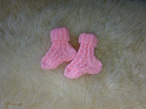 Pletené krajkové ponožky