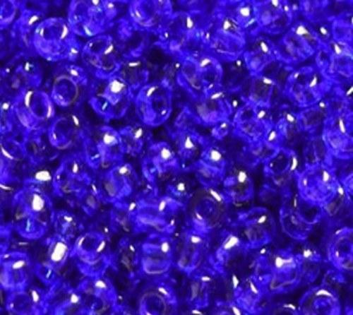 Korálky sklo 200g - indigo, průhledná 2mm