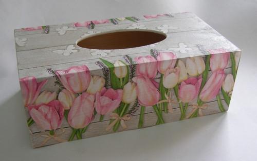 SKLADEM - krabice na papírové kapesníky - Tulipány