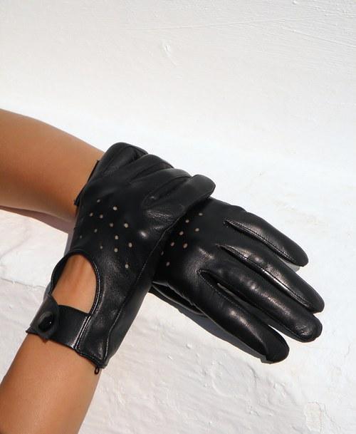 Černé kožené rukavice, šoferky - celoroční