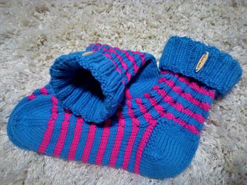 Pletené  proužkované ponožky pro chvíle odpočinku