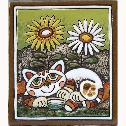 Keramický obrázek - Kočka a kopretiny K-116-Z