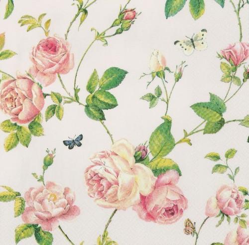 Ubrousek - růžičky na růžovém pozadí