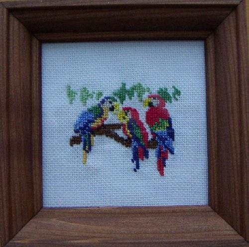 Vyšívaný obrázek - papoušci