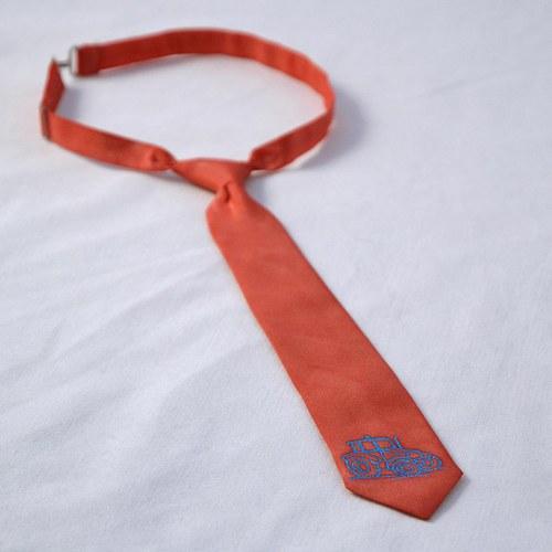 Dětská hedvábná kravata s traktorem