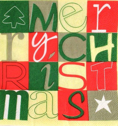 Ubrousek na decoupage - vánoční - 33 x 33 cm