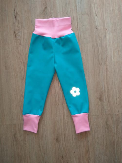 jarní/podzimní softshell kalhoty- tyrkys/růžová