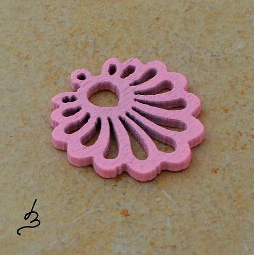 Dřevěný vějířek růžový - 4 ks