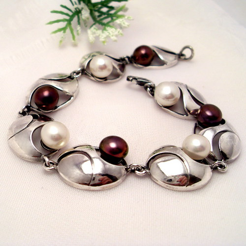 Náramek «Břízový vítr»  perly, stříbro 925/1000