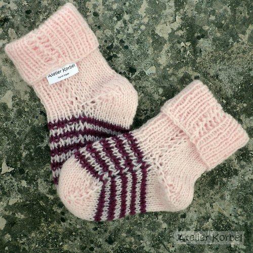 Růžové ponožky s proužky, akryl, vel.10,5 cm