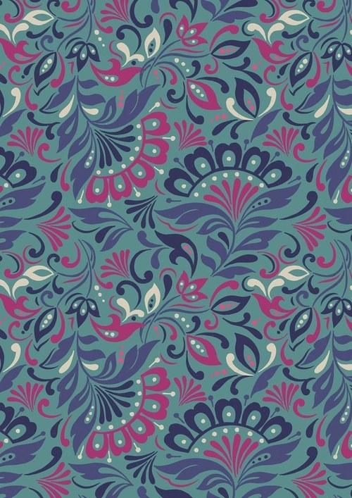Látka Manor House tyrkys/modré květy