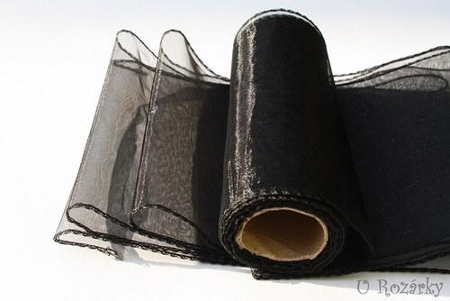 Organza obšitá - šíře 15 cm - černá